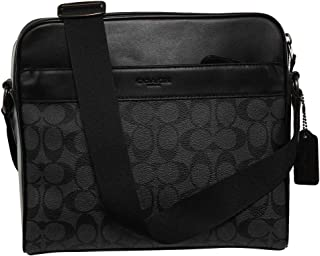 Coach Crossbody Messenger CHARLES BAG IN SIGNATURE CANVAS CHARCOAL BLACK