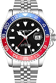 Stuhrling Original Mens Stainless Steel Jubilee Bracelet GMT Watch - Swiss Quartz, Dual Time, Quickset Date with Screw Down Crown, Water Resistant up to 10 ATM