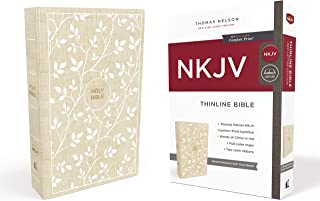 NKJV, Thinline Bible, Cloth over Board, White/Tan, Red Letter Edition, Comfort Print: Holy Bible, New King James Version