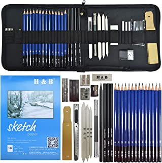 lunaoo Set de Lapices de Dibujo, Kit de Dibujo con Lapices Grafito e Lapices Carboncillo, Kit Artista para Bosquejo