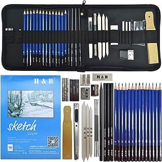 lunaoo Crayon Dessin, Kit Artiste Materiel Dessin pour Dessiner, Art Supplies avec Esquisse Crayons Graphite & Crayons Fus...