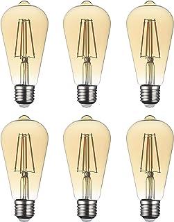 SD LUX Edison Light Bulb E27, Retro Light Bulb 6W LED Vintage Lighting ST64 Amber Glass, No Flicker, Edison Screw Bulb 6W...