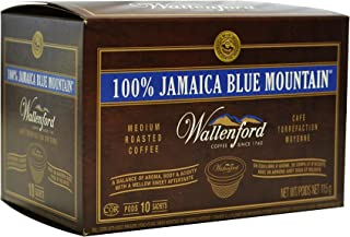 100% Wallenford Jamaica Blue Mountain Coffee K Cup Compatible Pods - 10 Pack