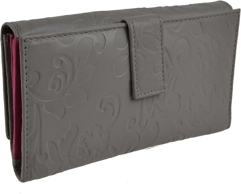 Mala Leather Women's Long Embossed Leather Purse Wallet