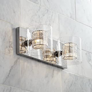 """Wrapped Wire Modern Wall Light Polished Chrome Hardwired 14 1/2"""" Wide 2-Light Fixture Clear Glass for Bathroom Vanity - Possini Euro Design"""