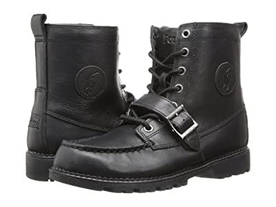 Polo Ralph Lauren Kids Ranger Hi II (Big Kid) (Black Leather) Boys Shoes