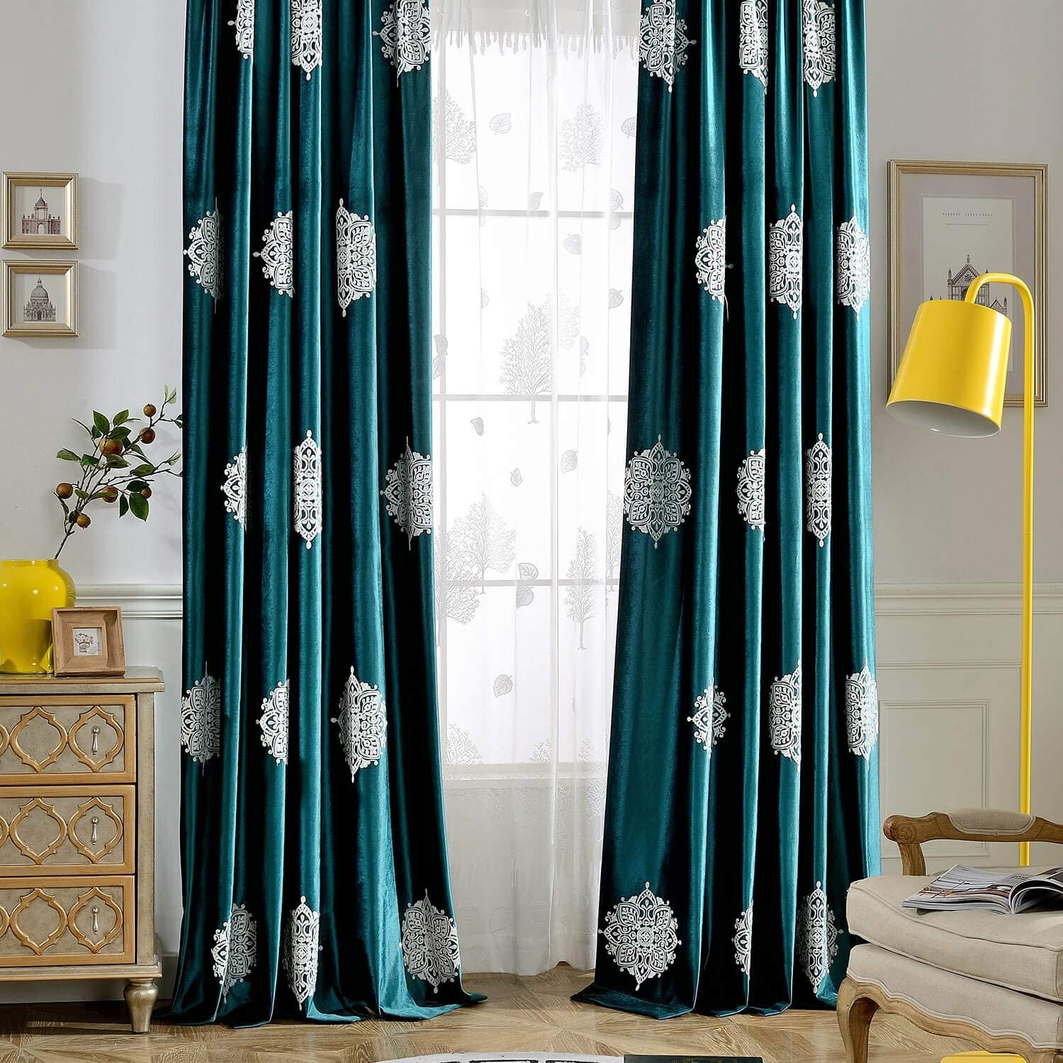 VOGOL 2 Pieces Detroit Mall Flower Embroidered Limited time cheap sale Luxury Curtains Velvet Soft B