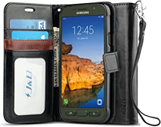 J&D Case Compatible for Galaxy S7 Active Case, [Wallet Stand] [Slim Fit] Heavy Duty Protective Shock Resistant Flip Cover Wallet Case for Samsung Galaxy S7 Active Wallet Case - Black