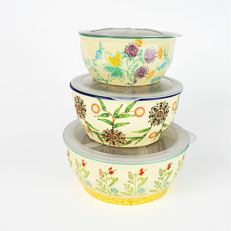 Las Vegas Mall Euro Ceramica Ella 3 Piece Nesting with Japan Maker New A Bowls Set Lids Storage
