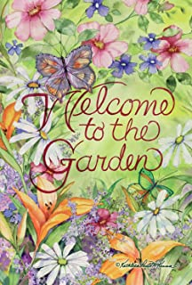Toland Home Garden Welcome To The Garden 28 x 40 Inch Decorative Spring Summer Flower Butterfly House Flag