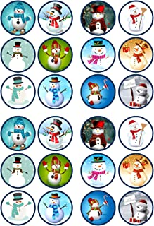 24 Christmas Snowman Mix Theme Edible Cupcake Toppers - Stand Up Discs Wafer Cake Decorations