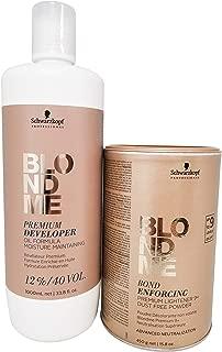 Schwarzkopf Professional Blond Me Premium Lift 9 Bleach and 12% Oil Formula Premium 40 Volume Developer Bundle