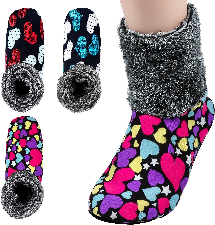 3-5 Pairs, Womens Warm Fuzzy Socks, Non Slip Grip, Stretch Velvet Slippers in Gift Box for Hospital & Nursing Home