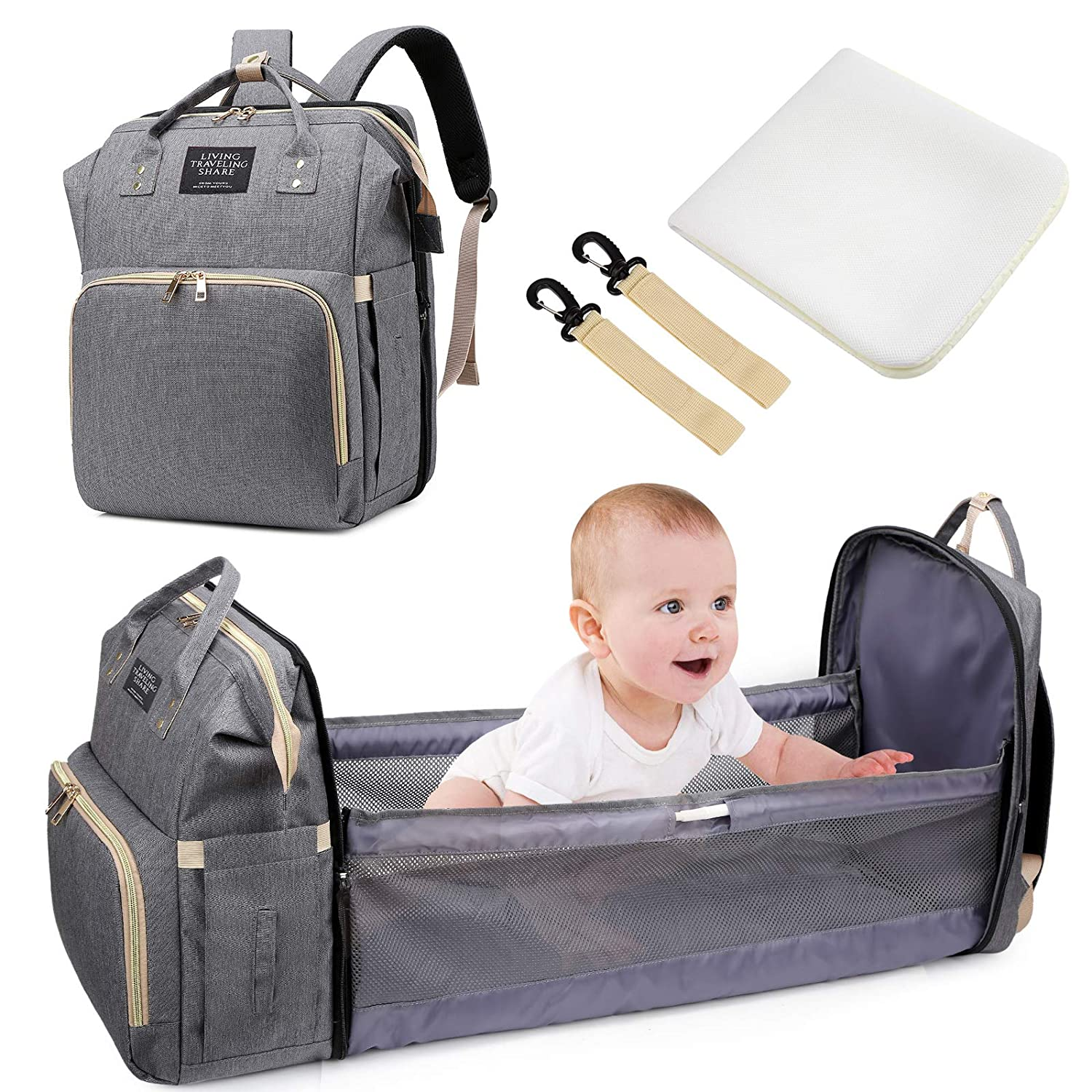 Baby Diaper Backpack - Uiter 3 in 1 Baby Doll Diaper Bag Portable Bed, Foldable Travel Infant Bassinets for Baby Waterproof Sleeping Bag with Mattress, Large Space Mummy Bag (Grey)