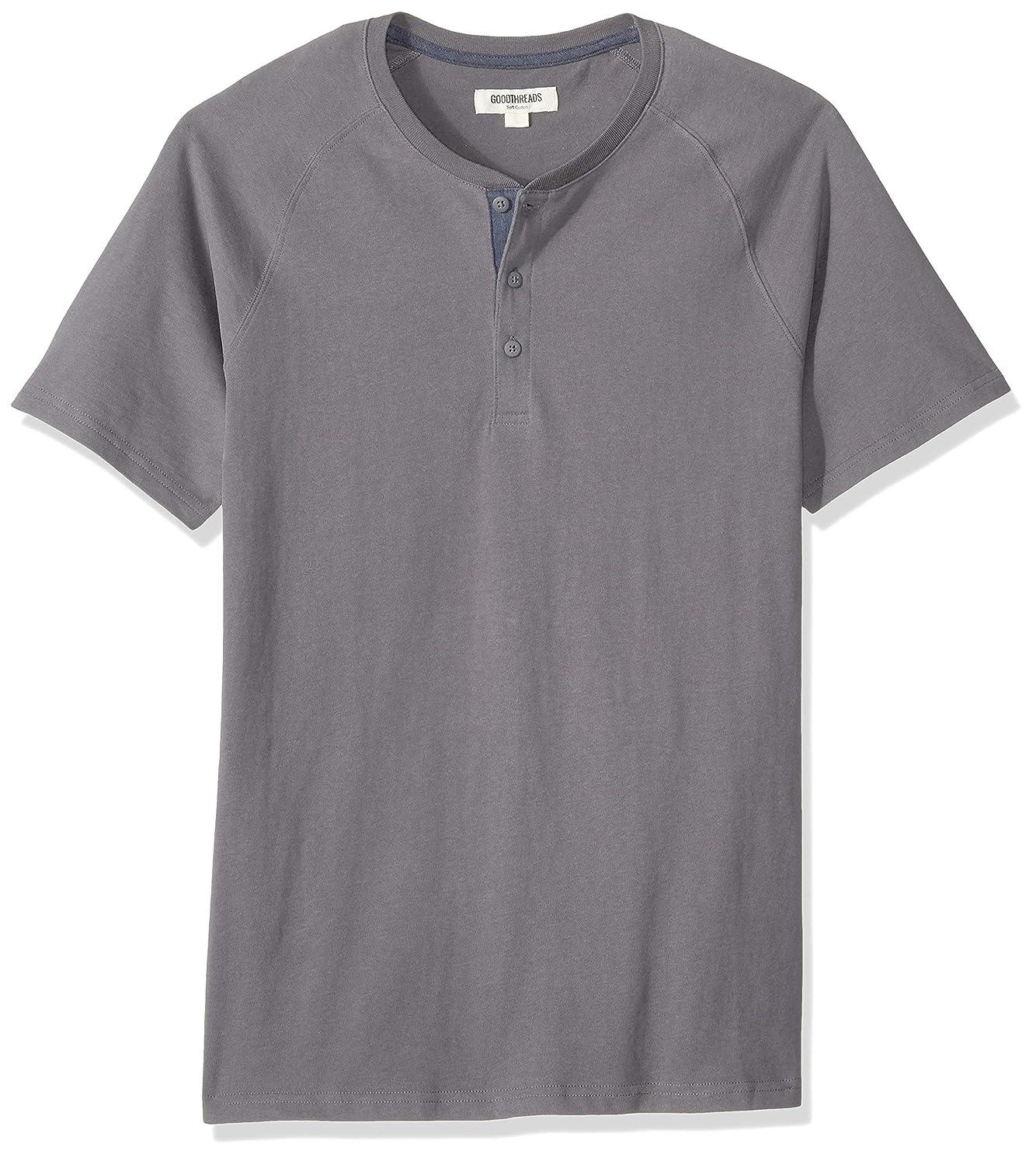 Amazon Brand - Goodthreads Men's Short-Sleeve Sueded Jersey Henley