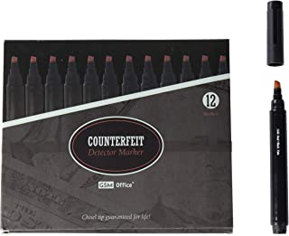 Counterfeit Money Bill Detector Pens, Markers - Detects Fake Currency - 12 Pack
