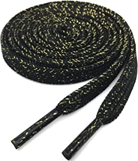 YJRVFINE Flat Shoe Laces Quality Gold Silk Thick Shoelaces for Shoes Boots