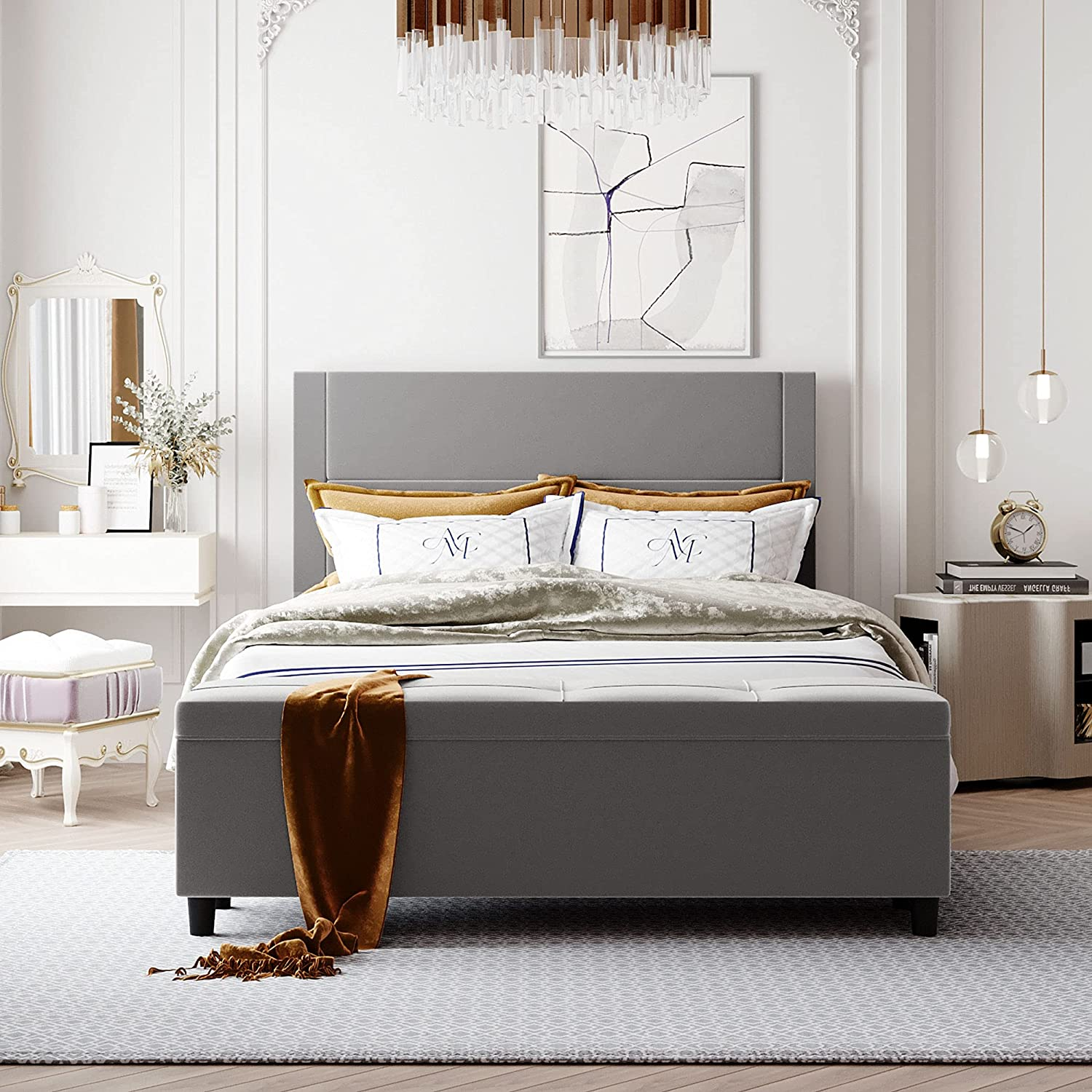 Platform Bed Upholstered Risers excellence Frame Queen Headb with Inexpensive