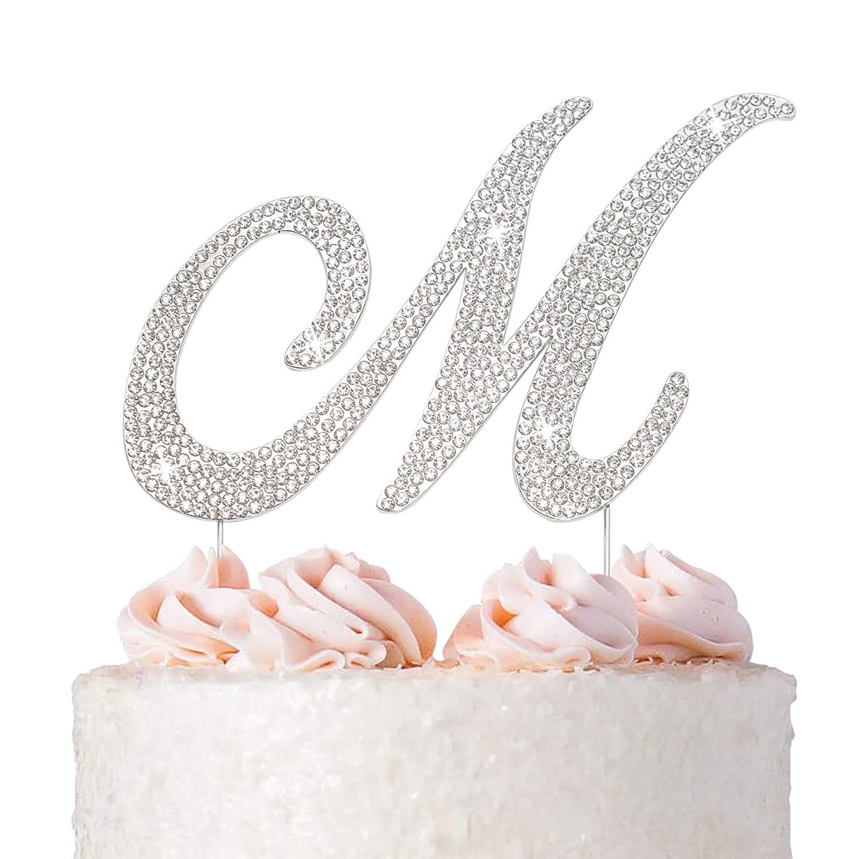 Letter M Some reservation Cake Topper - Premium Great interest Wedding Metal Silver Monogram