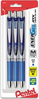 Pentel EnerGel Deluxe RTX Gel Ink Pens, 0.7 Millimeter Metal Tip, Blue Ink, 3-Pack (BL77BP3C)