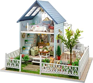 TAC STORE DIY Dollhouse Wooden Miniature Furniture Kit -Home Deco r-3D Wooden Puzzle Playset - with LED Best Birthday Gifts for Boys Girls Friends Mom Women (E)