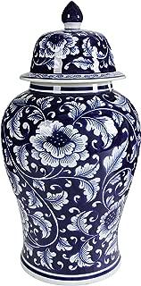 Benjara Benzara BM145820 Bold Floral Decorative Jar with Lid, Blue and White,