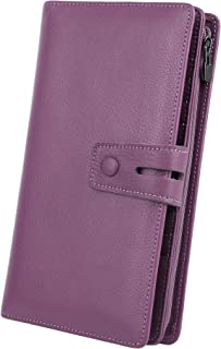 Women's RFID Blocking Leather Large Capacity Wallet with Removable Checkbook Holder