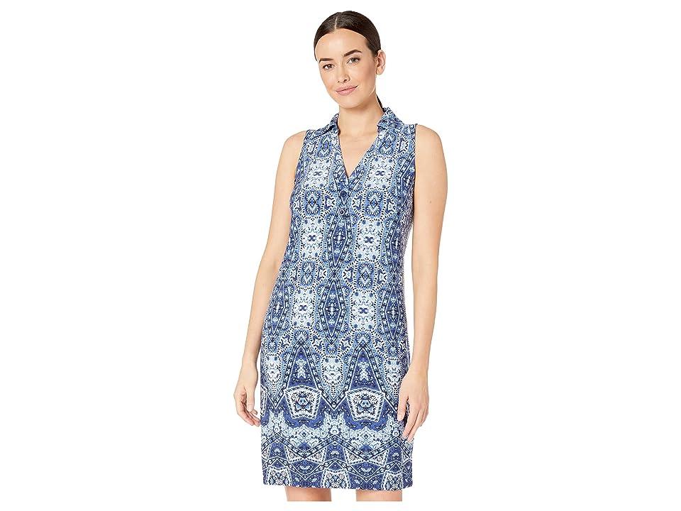 London Times Sleeveless Collared Shirt Dress (Soft White/Blue) Women