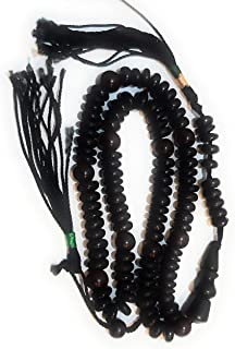 Islamic Prayer Beads 99 Beads Tusbeeh Natural Wood Shiny Black Fan Palm Bead Handmade Fasting Ramadan (Black Beads)