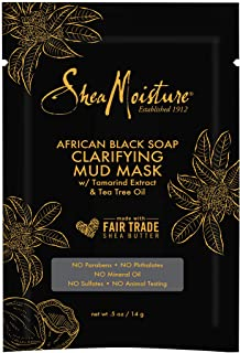 SheaMoisture Mud Mask Packette for Oily, Blemish-Prone Skin African Black Soap to Clarify Skin 0.5 oz