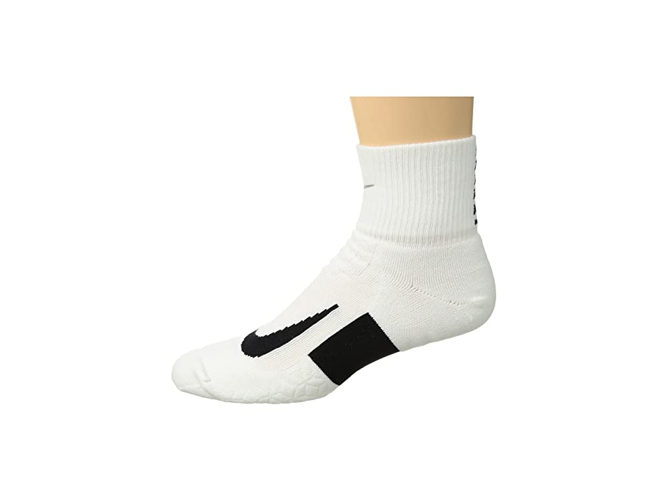 Nike Elite Cushion Quarter Running Socks (White/Black/Black) Quarter Length Socks Shoes