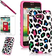 LG L70 Case, LG Optimus L70 Case, Style4U Colorful Leopard Design Slim Fit Hybrid Armor Case for LG Optimus L70 with 1 Stylus and 1 HD Clear Screen Protector [Leopard Hot Pink]