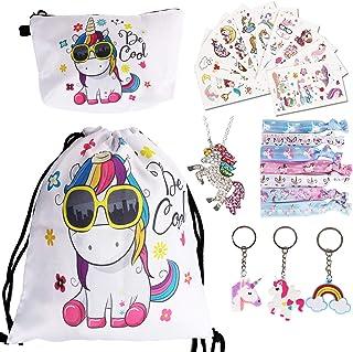 URAQT Sacca per Bambine Unicorno, Sacche Unicorno Bambina con 22 PCS Accessorie, Coulisse Zaino e Unicorno Regali per Raga...