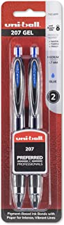 uni-ball 207 Retractable Gel Pens, Medium Point (0.7mm), Blue, 2 Count