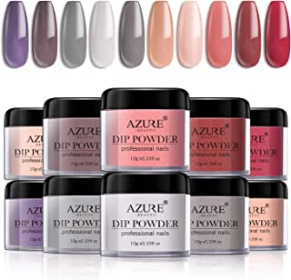 Dip Powder Nails Color Set with 10 Nude Gray Series Colors Dip Powders Nails System for French Nail Manicure Nail Art No UV/LED Nail Lamp Needed