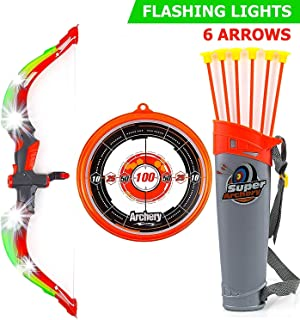 Toysery Bow and Arrow for Kids with LED Flash Lights - Archery Bow with 6 Suction Cups Arrows, Target, and Quiver - Practice Outdoor Toys for Children Above 6 Years of Age, Red