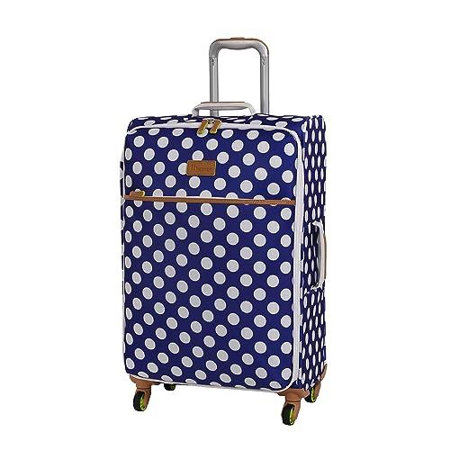 IT The Lite 70cm Polka Dot Print Lightweight Expandable Four Wheel Spinner  Suitcase Blue Cream 84b4511df955b