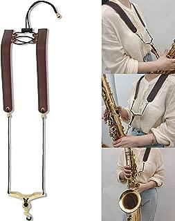 Saxophone Shoulder Strap, 100% Handmade Genuine Leather, Foldable, Adjustable Neck Strap, No Stress on Neck Shoulder Strap for Sax Bass Tenor Alto