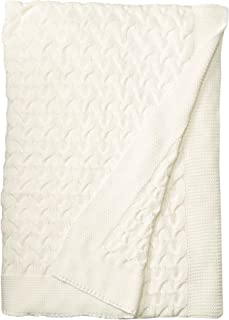 Kuprum Soft 100% Cotton Throw Blanket, Knit Crochet Sweater Texture, for Couch Sofa Bed, White 51 x 67 Inch
