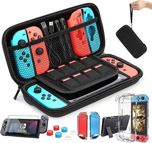 HEYSTOP Case Compatible with Nintendo Switch Carry Case 9 in 1 Pouch Switch Cover Case HD Switch Screen Protector Thu...