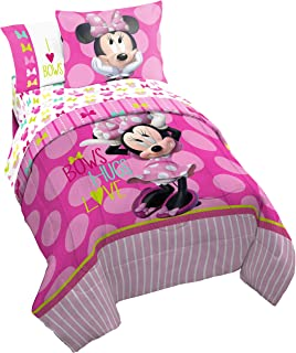 Disney Minnie Mouse Bigger Bow Twin Comforter - Super Soft Kids Reversible Bedding features Minnie Mouse - Fade Resistant Polyester Includes 1 Bonus Sham (Official Disney Product)