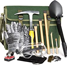 INCLY 15 PCS Geology Rock Pick Hammer Kit, 3 PCS Digging Chisels for Rock Hounding, Gold Mining & Prospecting Equipment wi...