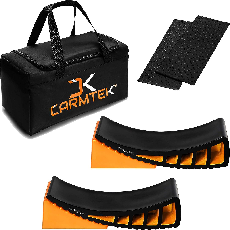 CARMTEK Camper Leveler Premium Kit - Curved RV Levelers with Camper Wheel Chocks, Rubber Mats and Carry Bag   Faster Camper Leveling Than RV Leveling Blocks