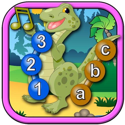 Crianças dinossauro se juntar e conectar os pontos quebra-cabeças - Rex ensina as formas de números do ABC e contando adequado para crianças e jovens as idades pré-escolares 2 +