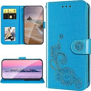 XYX Capa carteira para Motorola E6 Play, capa de couro PU com renda em relevo para Moto E6 Play - Azul
