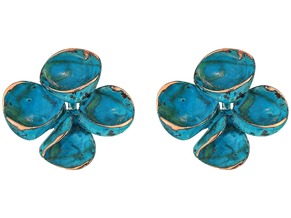 Robert Lee Morris - Robert Lee Morris Green Patina Sculptural Flower Clip-On Earrings