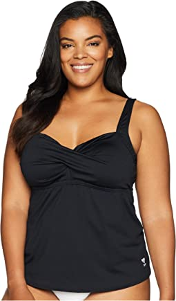 Plus Size Solid Twisted Bra Tankini