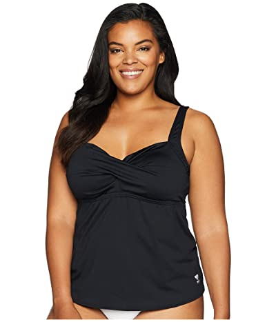 TYR Plus Size Solid Twisted Bra Tankini (Black) Women