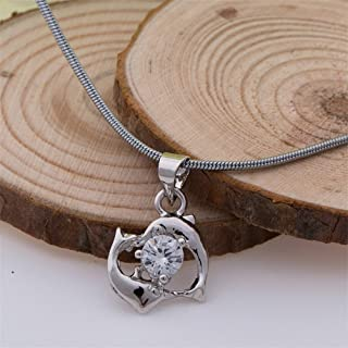 New 2 Dolphin Pendant 18k White Gold Plated Crystal Necklace Chain Silver Charm
