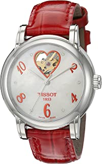 Women's T0502071611602 Heart Automatic Mother of Pearl Open Dial Watch
